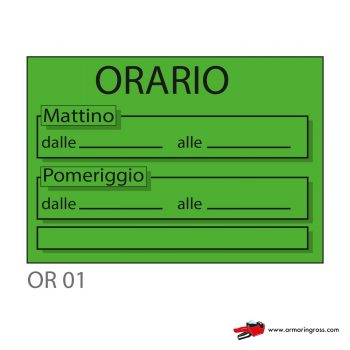 """Cartelli """"ORARIO"""" OR 01"""