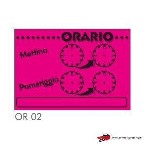 """Cartelli """"ORARIO"""" OR 02"""