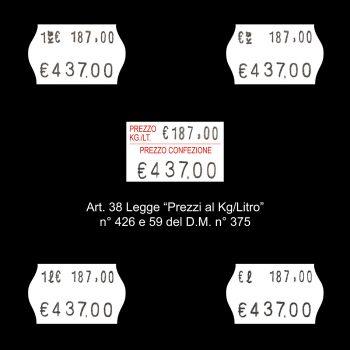 Etichette Prezzatrice Meteor S16 - Norma Kg Litro