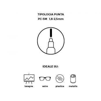 Pennarello Uniposca con punta da 5 mm cancellabile con Alcol puro
