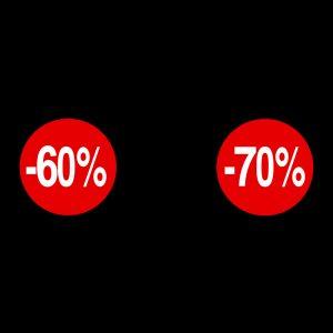 Rotoli Etichette Bollino Sconto 60% e 70%
