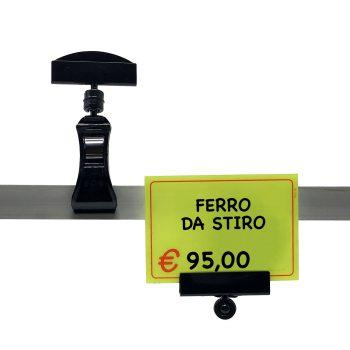 Supporto Segnaprezzi Pinza Nera con Base | Accessorio per segnaprezzi