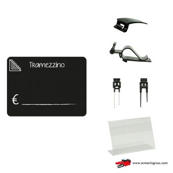 Lavagnette Nere PVC Tramezzino con Accessorio | Lavagnette riscrivibili