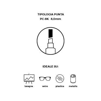 Pennarello Uniposca con punta da 8 mm cancellabile con Alcol puro